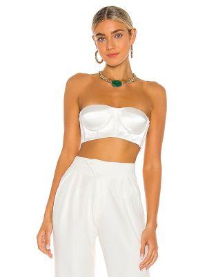 Włókienniczy biały spodnie capri dwustronny z kubkami Bronx And Banco