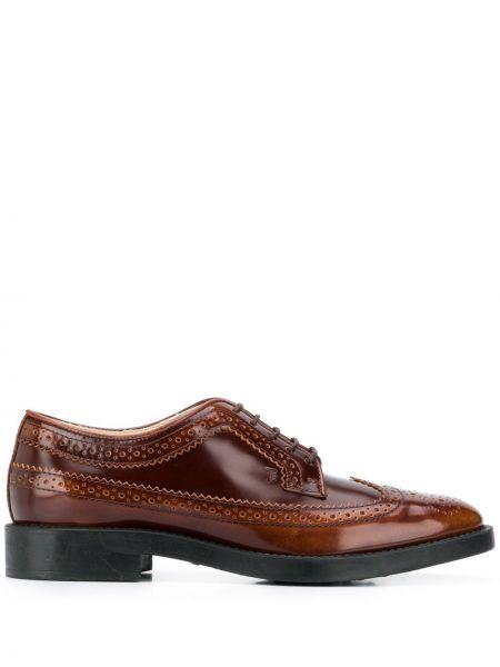 Brązowy koronkowa skórzany buty brogsy na sznurowadłach Tod's