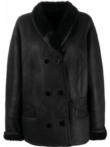 Черный кожаный удлиненный пиджак двубортный A.n.g.e.l.o. Vintage Cult