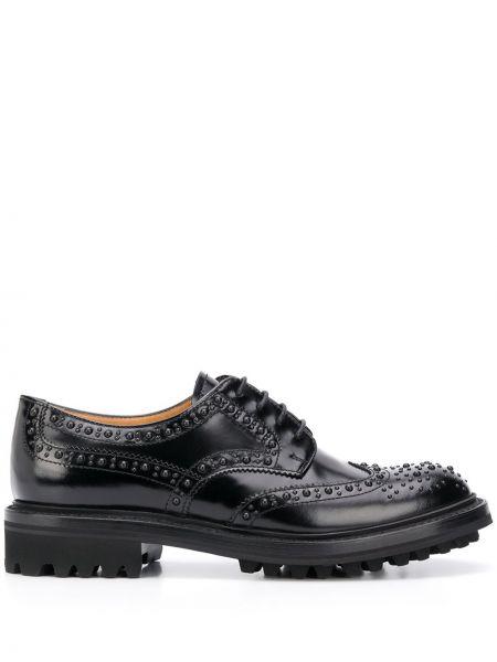 Ażurowy czarny buty brogsy z prawdziwej skóry zasznurować Churchs