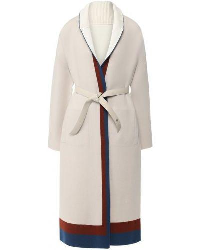Кожаное пальто с поясом кашемировое Loro Piana