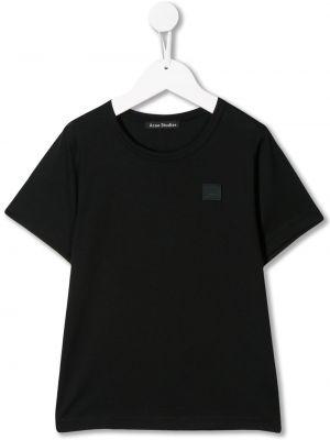 Czarny t-shirt bawełniany z haftem Acne Studios Kids