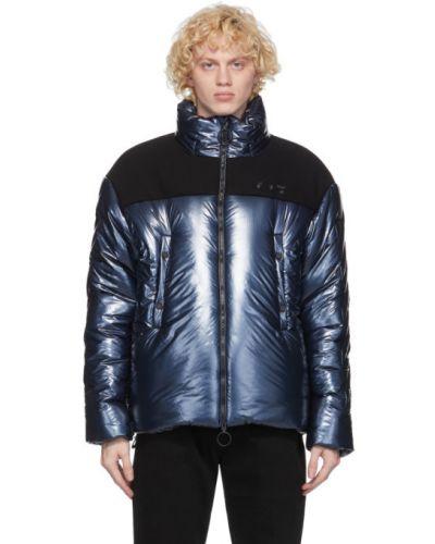 Puchaty czarny pikowana kurtka z mankietami dwustronny Off-white