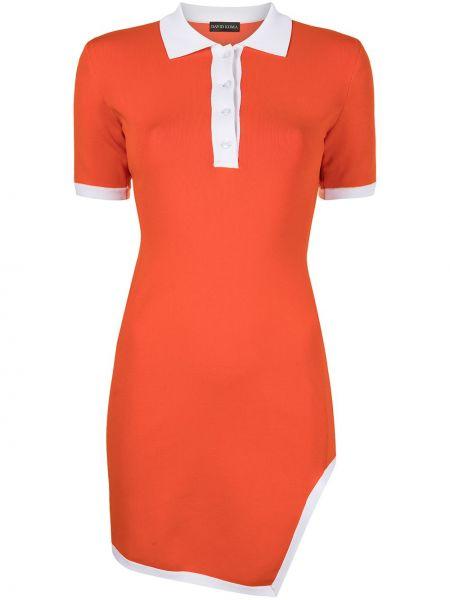Красное платье мини с короткими рукавами с воротником David Koma