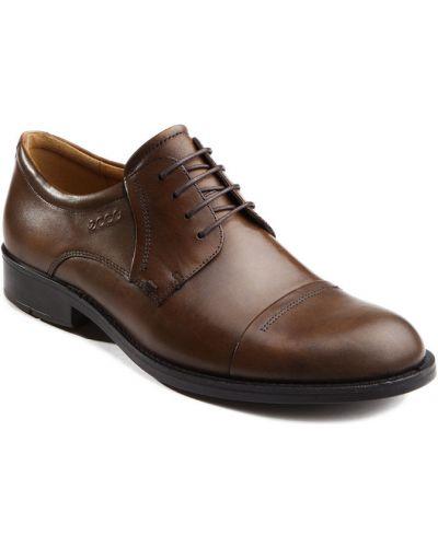 Кожаные туфли на шнурках коричневый Ecco