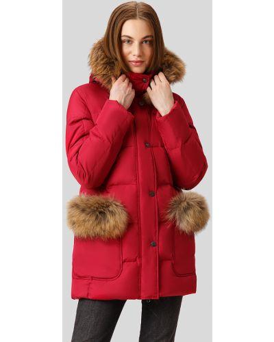 Утепленная куртка с енотом красная Finn Flare