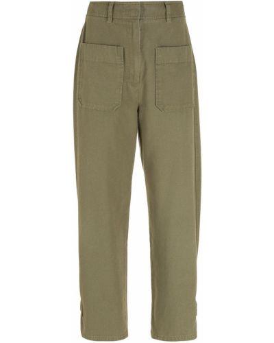 С завышенной талией хлопковые зеленые брюки НК
