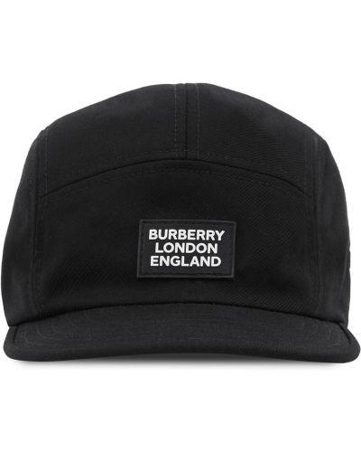 Хлопковая черная кепка с нашивками Burberry