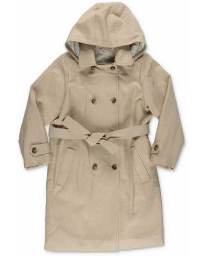 Beżowy płaszcz z kapturem Bonpoint