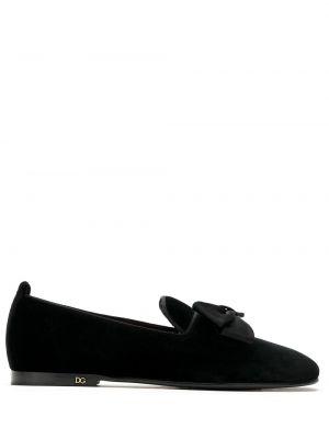 Шелковые черные лоферы с бантом на плоской подошве Dolce & Gabbana