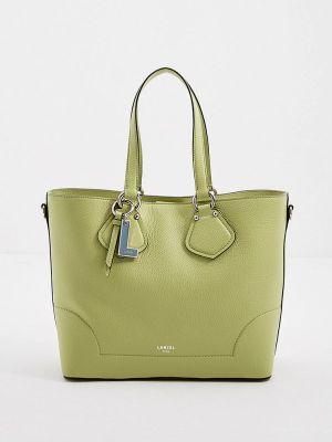Зеленая сумка с ручками из натуральной кожи Lancel