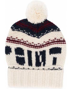 Prążkowana biała czapka wełniana Bonpoint