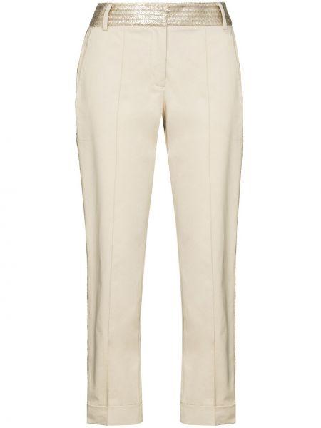Хлопковые бежевые укороченные брюки Silvia Tcherassi