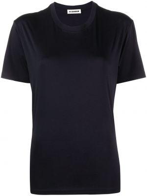 Прямая хлопковая синяя футболка Jil Sander
