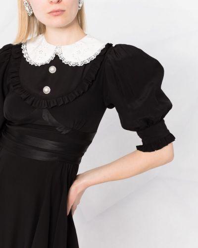 Шелковое пышное черное платье миди Alessandra Rich