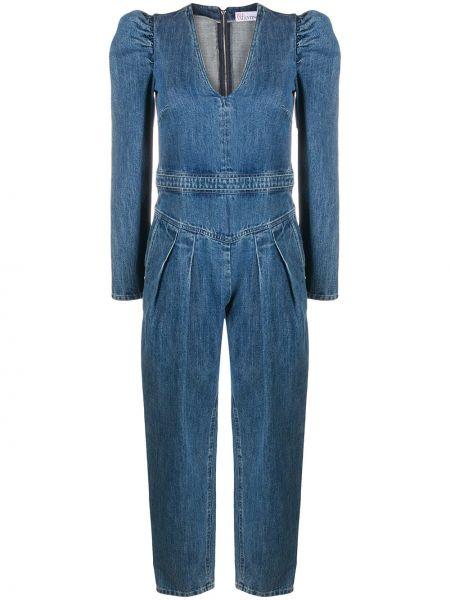 Хлопковый синий с рукавами джинсовый комбинезон Redvalentino