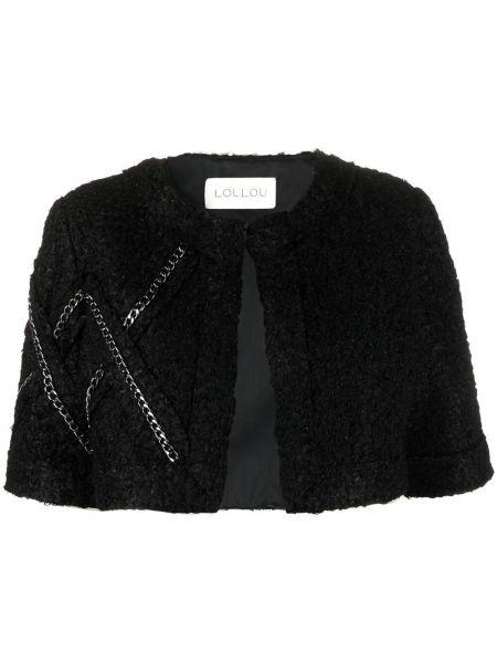 Черный пиджак с короткими рукавами из вискозы Loulou
