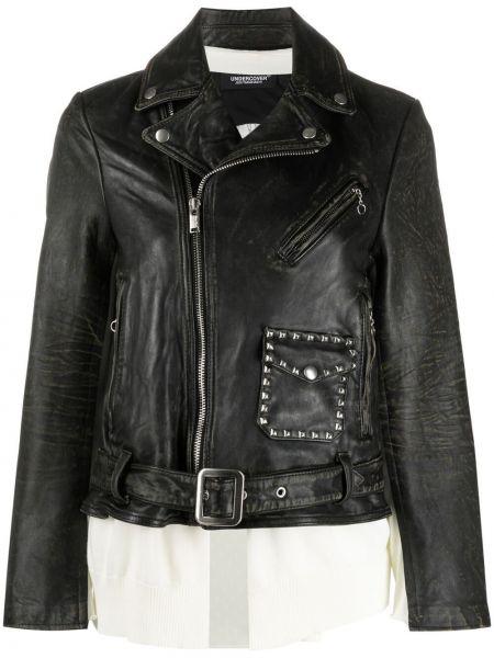 Черная кожаная куртка на молнии Undercover