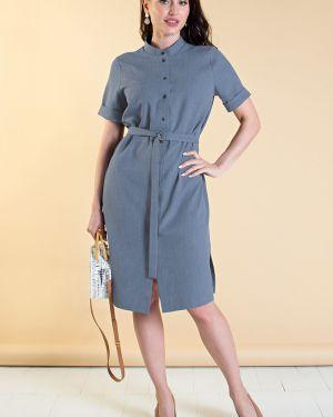 Джинсовое платье с поясом платье-рубашка Lady Taiga