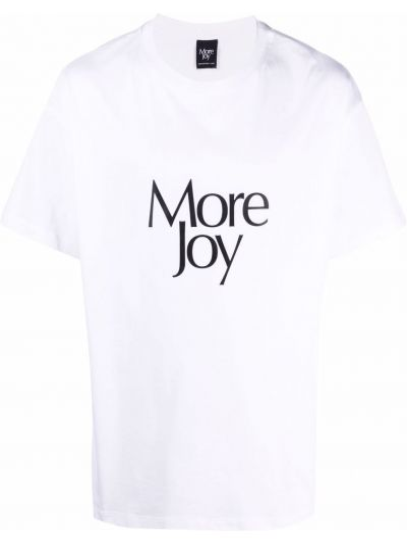 Biały t-shirt z printem bawełniany More Joy