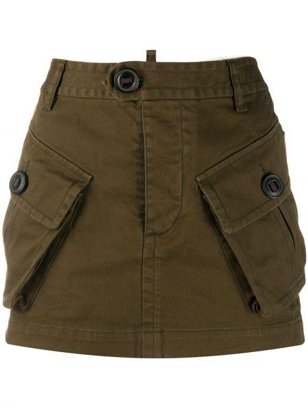 Прямая с завышенной талией юбка мини с карманами Dsquared2
