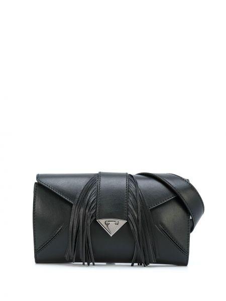 Черная поясная сумка с кисточками прямоугольная на молнии Tyler Ellis