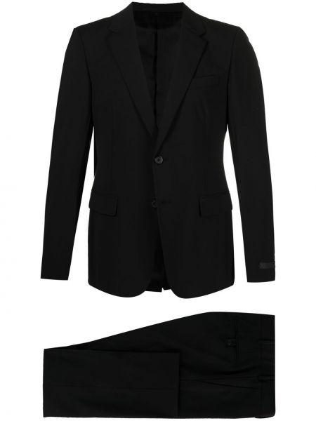 Czarny garnitur wełniany z paskiem Prada