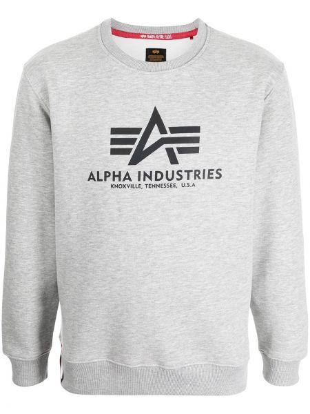 Серая толстовка с вырезом Alpha Industries
