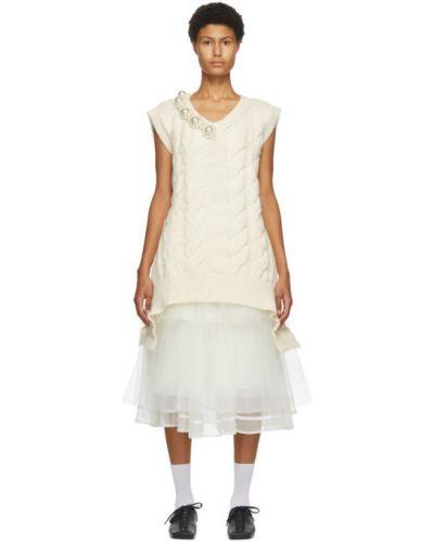 Белая жилетка с воротником с V-образным вырезом из альпаки Simone Rocha