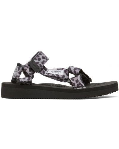 Текстильные черные пляжные сандалии на липучках Wacko Maria