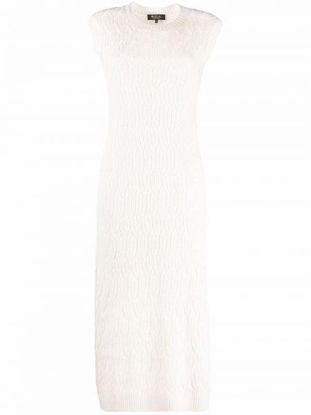 Biała lniana sukienka midi Loro Piana