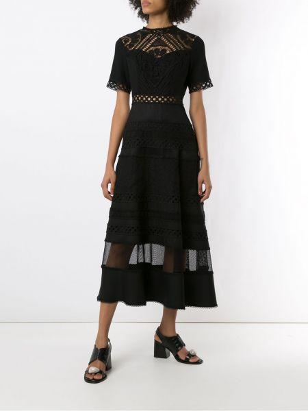 Кружевное с рукавами черное платье миди Martha Medeiros