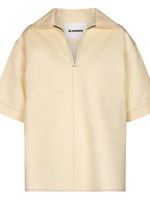 Ватная бежевая шелковая рубашка Jil Sander