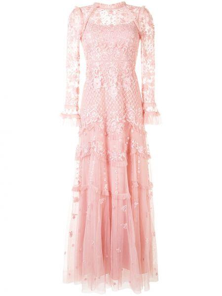 Розовое платье из фатина со вставками с воротником Needle & Thread