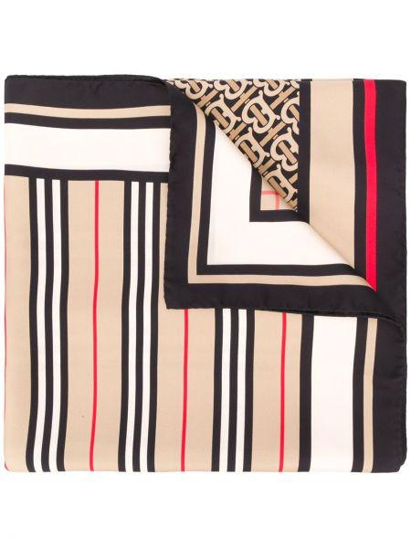 Шелковый коричневый шарф винтажный с декоративной отделкой Burberry