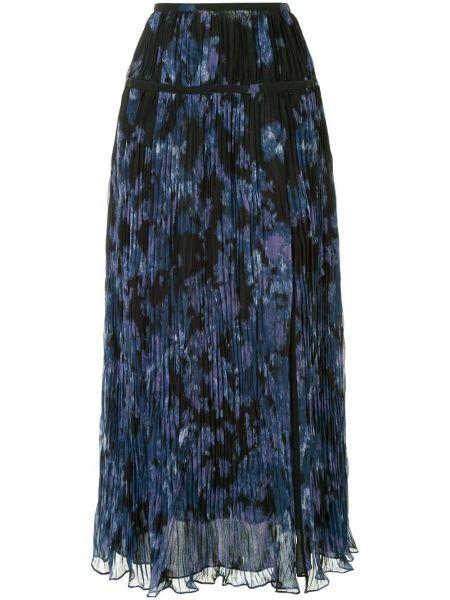 Плиссированная синяя с завышенной талией юбка миди Altuzarra
