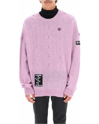 Fioletowy sweter w kwiaty Raf Simons
