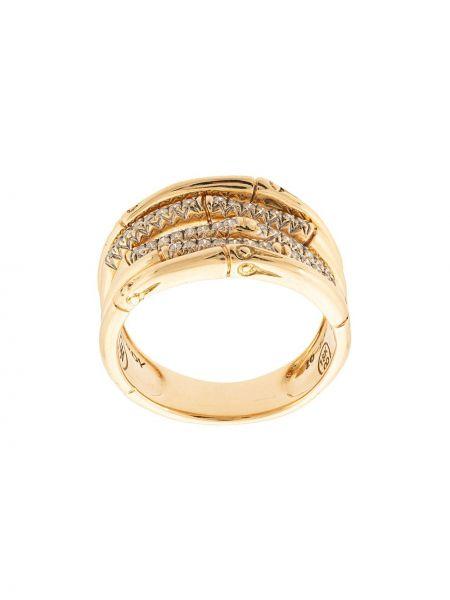 Золотистое кольцо золотое с бриллиантом John Hardy