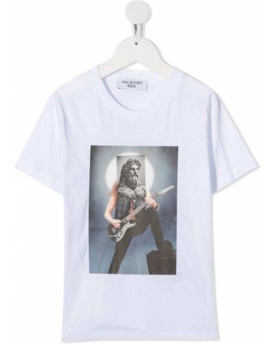 Белая хлопковая прямая футболка с круглым вырезом Neil Barrett Kids
