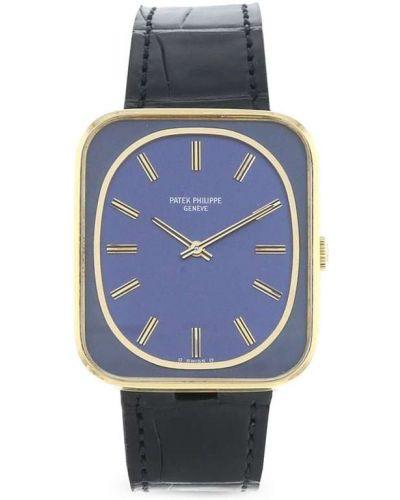 Кожаные синие часы механические Patek Philippe