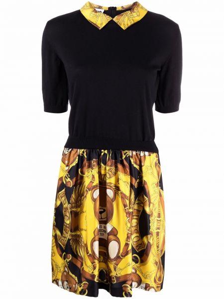 Черное платье с короткими рукавами Moschino