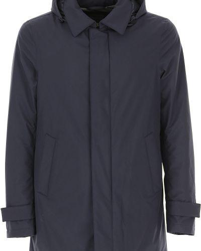 Puchaty niebieski kurtka z kapturem Herno