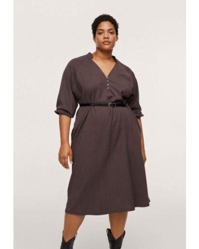 Коричневое повседневное платье Violeta By Mango