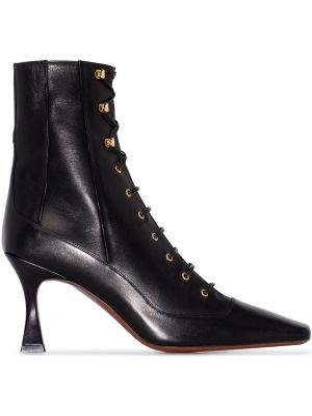 Ажурные черные сапоги на шнуровке Manu Atelier