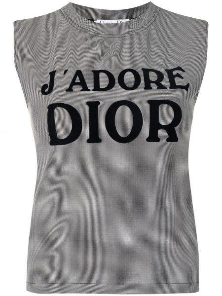 Czarny t-shirt bez rękawów z printem Christian Dior