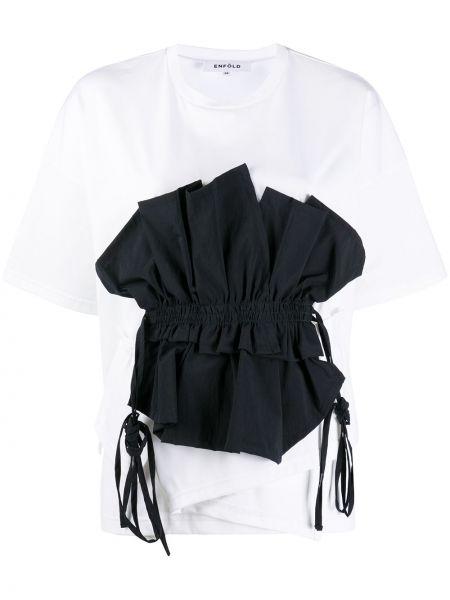 Bawełna ciemnoniebieski prosto koszula z krótkim rękawem okrągły dekolt Enfold