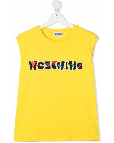 Żółta kamizelka bez rękawów bawełniana Moschino Kids