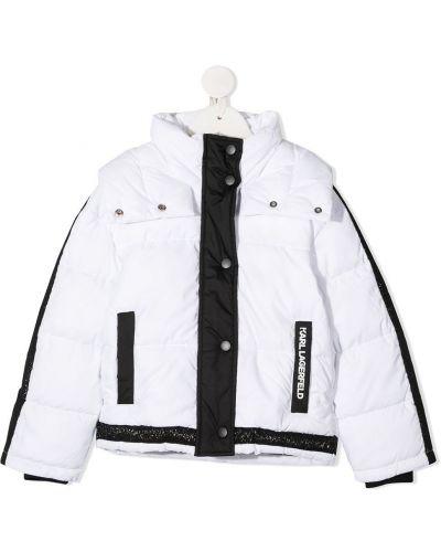 Белый стеганый пуховик с декоративной отделкой на молнии Karl Lagerfeld Kids