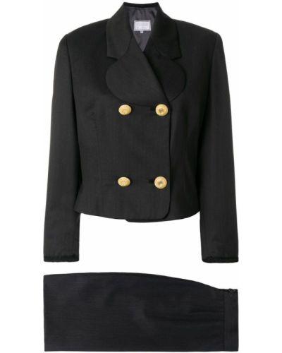 Темно-серый костюмный вязаный юбочный костюм с лацканами Versus Pre-owned