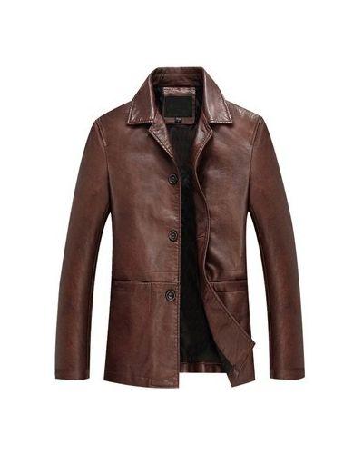 Кожаная куртка с воротником - коричневая Vsp